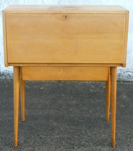 1960's Light Wood Retro Writing Bureau Workstation - SOLD